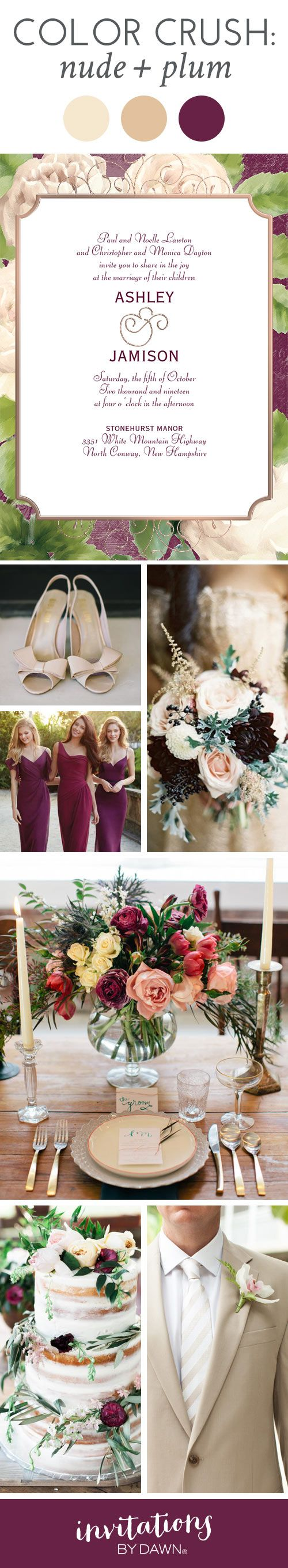 Wedding Color Crush: Nude and Plum. A beautiful color palette for practically any season.