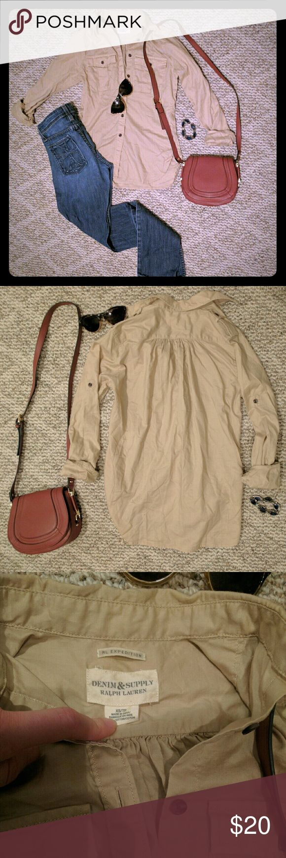 Cargo shirt Tan / khaki button up expedition top by Ralph Lauren Denim & Supply in beautiful condition.  Size extra small, loose fit. Very lightweight & perfect for spring/summer! Roomy front pockets.   All my items are from a smoke free home.   Make me a bundle offer! Denim & Supply Ralph Lauren Tops Button Down Shirts