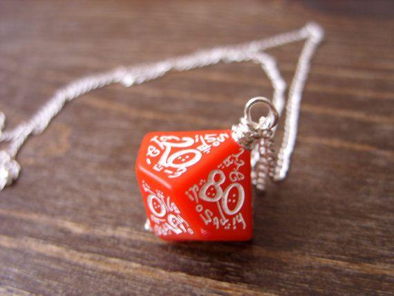 elf dice pendant elvish D100 dice rgp larp red white by MageStudio