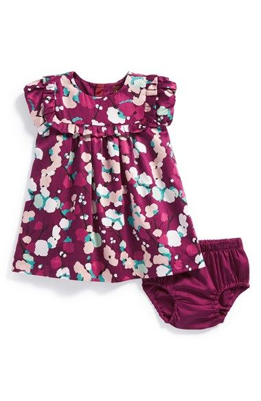 Free shipping and returns on Tea Collection 'Schneebedeckt' Sateen Party Dress & Bloomers (Baby Girls) at Nordstrom.com. The snow-capped branches of tall larch trees in Germany inspire the ethereal print of this beautiful party dress all done up in a sateen sheen and ruffle details.