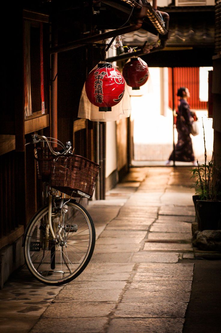 Bicycle in an Alleyway in Kyoto, Japan