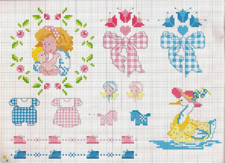 Tantissimi schemi punto croce facili facili con fiori, porcellini, pesciolini, Paperino, Pippo e Pluto per rendere colorato e divertente il corredino del nostro bambino