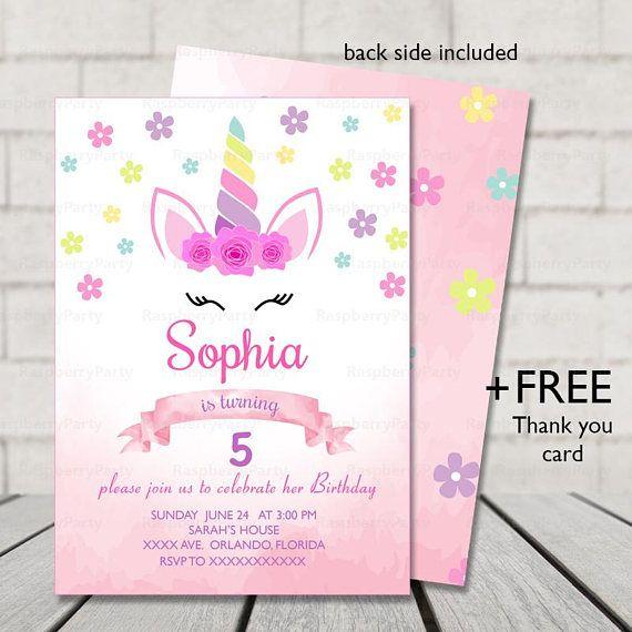 unicorn party invitation printable file