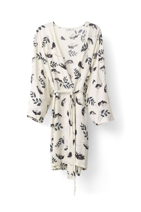 Ganni New Arrivals   Rosemont Crepe Kimono, Vanilla Hemlock