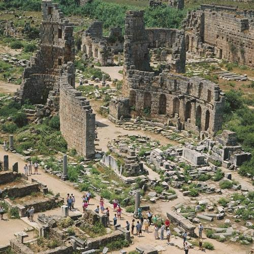 Ruins of Perge, Turkey. Perge was an ancient Greek city in Anatolia and the capital of Pamphylia, which later became a Roman settlement.