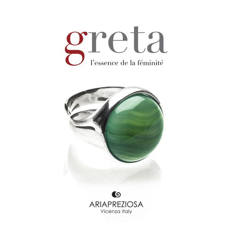 Greta - Anello in Argento 925‰ con pietra AGATA VERDE A STRISCE incastonata