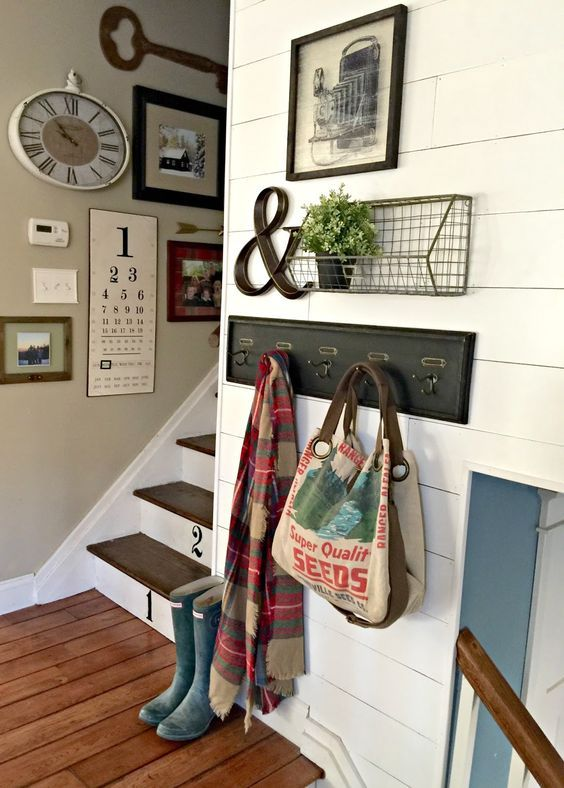 Farmhouse Gallery Wall Entryway and Stairs