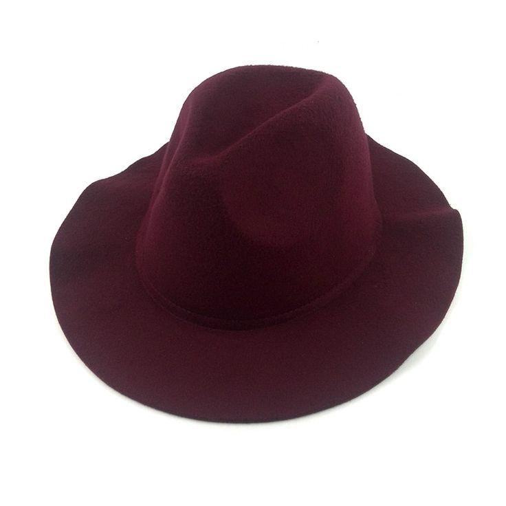 2017 women female chapeu feminino vintage  wide brim felt hat black floppy fedora for ladies church hats winter autumn