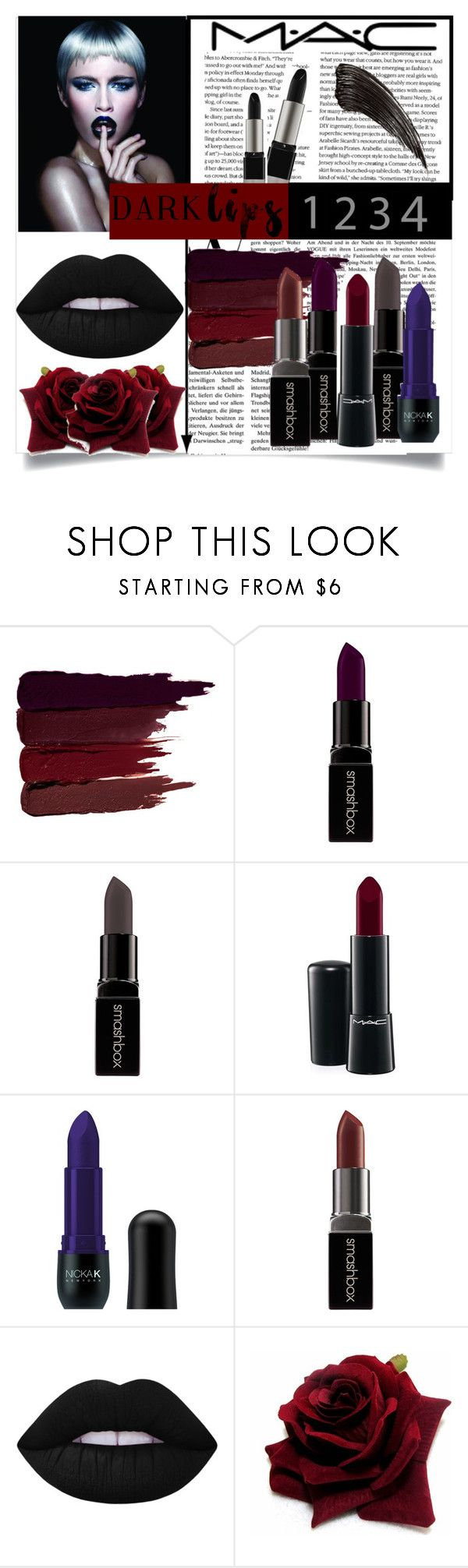 """DARK LIPS"" by gaellerached ❤ liked on Polyvore featuring beauty, Wella, MAC Cosmetics, Serge Lutens, Smashbox, Nicka K, Lime Crime and darklips"