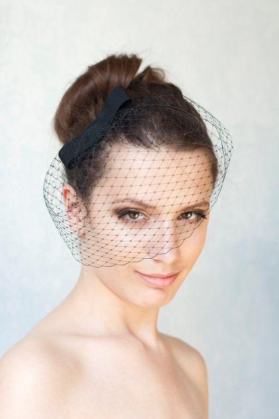 Black birdcage veil with bow, black bow with veil, bridesmaid hair accessory