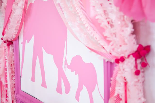 Pink Elephant party. Love the pink peanut garland