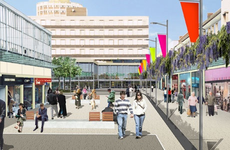 "Artists impression (it says artists but this cut and paste photoshop hack would shame the efforts of the local junior school) of how the revamped Billingham Town Centre could look. To save time this can filed next to plans for Hover Cars, Moon Bases and Middlesbrough FC FA Cup Victory Parades in the ""never gonna happen"" drawer"