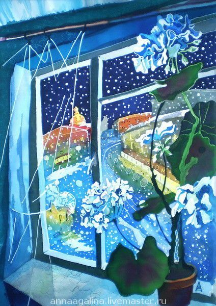 "Купить Картина ""Снег идет"". Батик. - горячий батик, стихи, зима, город"