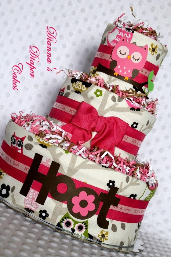 Baby Diaper Cake Pink Owls Girls Baby Shower Gift or Centerpiece, Ready-made $49.99