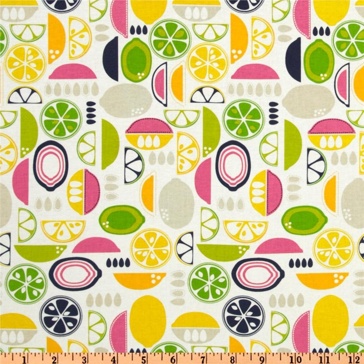 Kitchy Kitchen Decor: Kitchy Kitchen Fruit Slices Pink - Discount Designer Fabric - Fabric.com