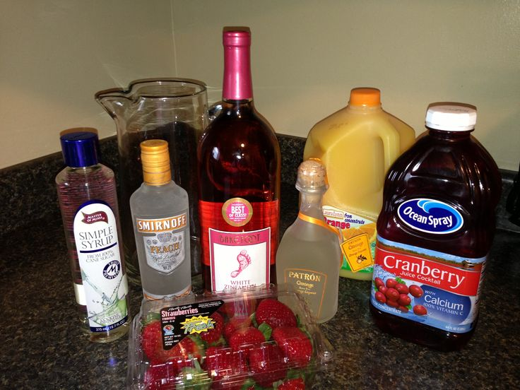 Carrabbas white peach Sangria recipe straight from the bartender....  1.5 liter white Zinfandel....8oz Patron Citronge....8oz peach vodka....16oz cranberry juice....8oz orange juice....8oz simple syrup....then add sliced strawberries and lemons.
