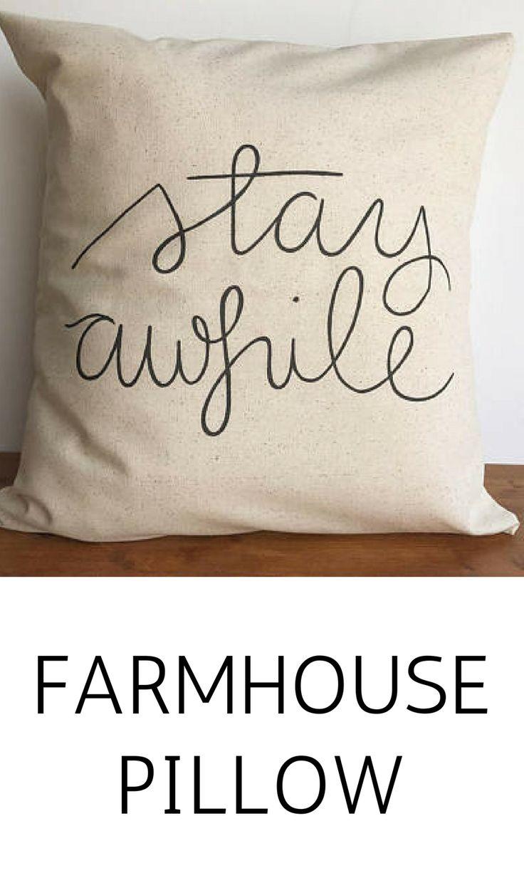 Stay awhile throw pillow case, couch pillows, farmhouse   decor, neutral pillow #homedecor #affiliate #farmhouse #stayawhile