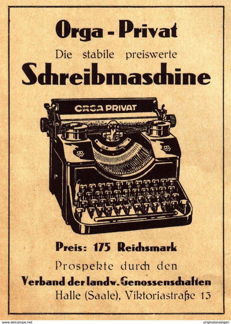 Original-Werbung/ Anzeige 1930 - ORGA PRIVAT SCHREIBMASCHINE / VERBAND LANDW. GENOSSENSCHAFTEN - HALLE - Ca. 75 X 100 Mm - Werbung