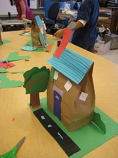A House is a House for Me Storytelling--everyone makes their own, puts them together to make a play town