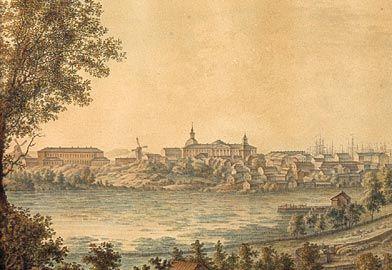 Erik Wilhelm Le Moine, akvarelli 1820-luku, kuvaa on rajattu.  Helsinki nähtynä Kluuvinlahden yli. Oikealla Ulrika Eleonoran kirkko.