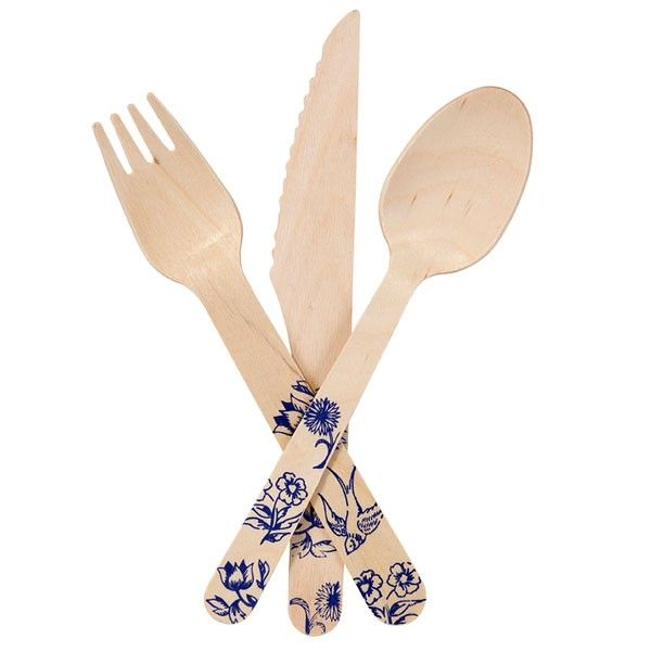 Wooden Porcelain Picnic Cutlery Set