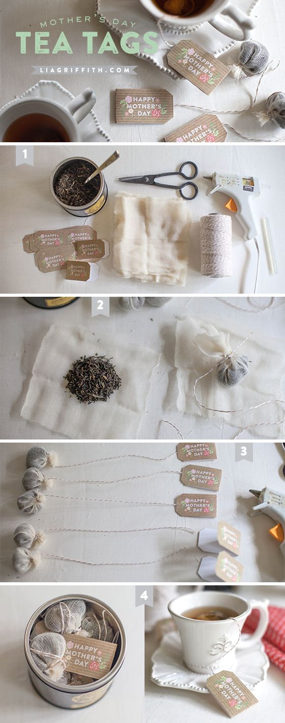 The pretty flower and kraft paper tags are perfect to add to the end of tea bag strings to give your mom a special message on Mother's Day. You can also use this tutorial to make your own tea bags from loose leaf teas.