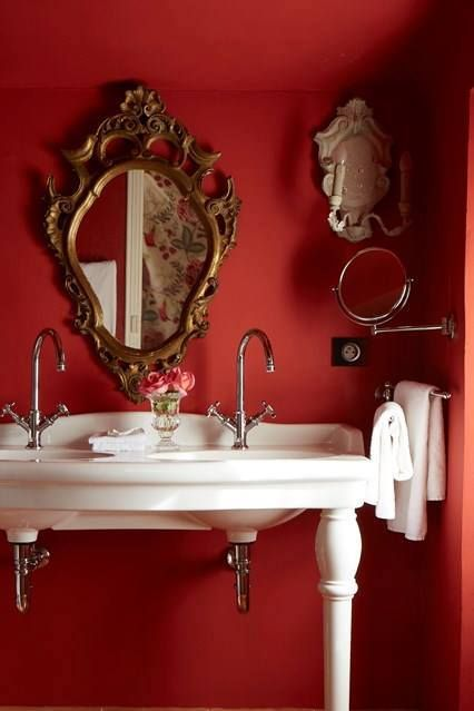 Why Not? A red bathroom like this one in House & Garden plus more ideas here that work: bit.ly/1VuvKdF