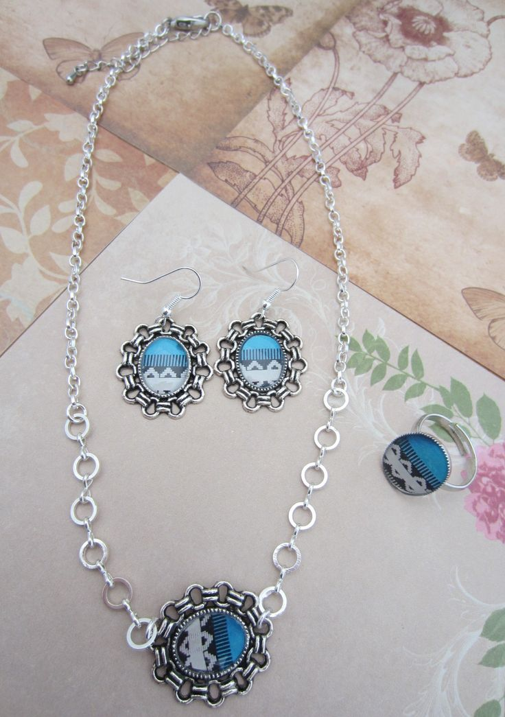 vintage setje blauw/wit www.parelreiziger.be