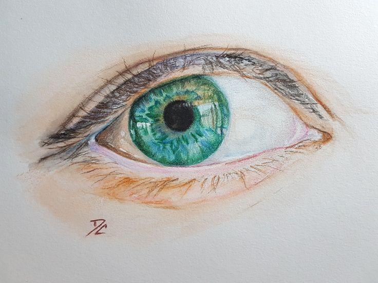 Eye study done in Aquarelle pencils and Prismacolor pencils. (c) Doris Clarke 2017