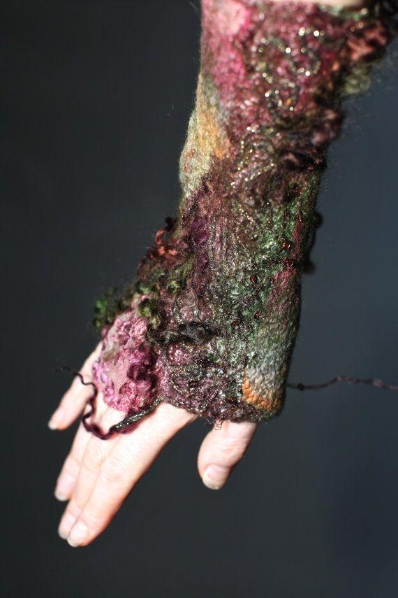 Felted Pleasure - Textured Felt Arm Warmers