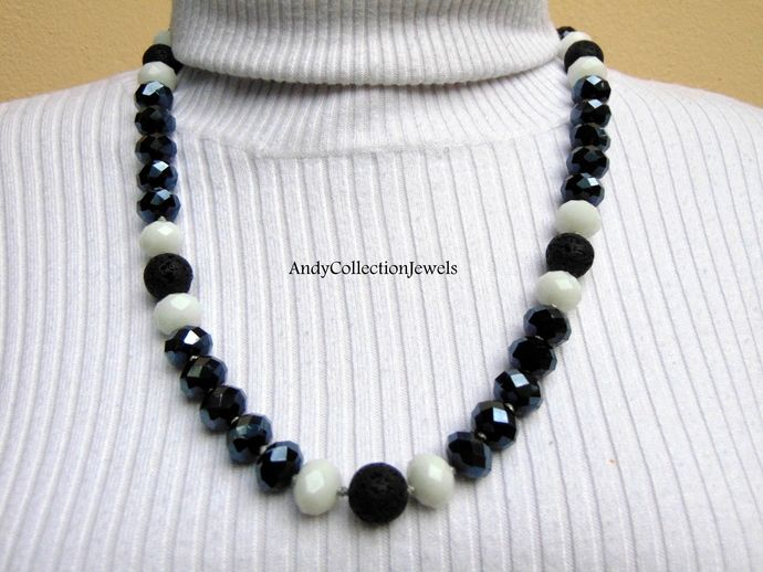 Black and white necklace Black lava necklace Womens jewelry gift Rosario necklace Gift for her Jewelry Short necklace Huge crystal necklace. by AndyCollectionJewels, $35.00 EUR