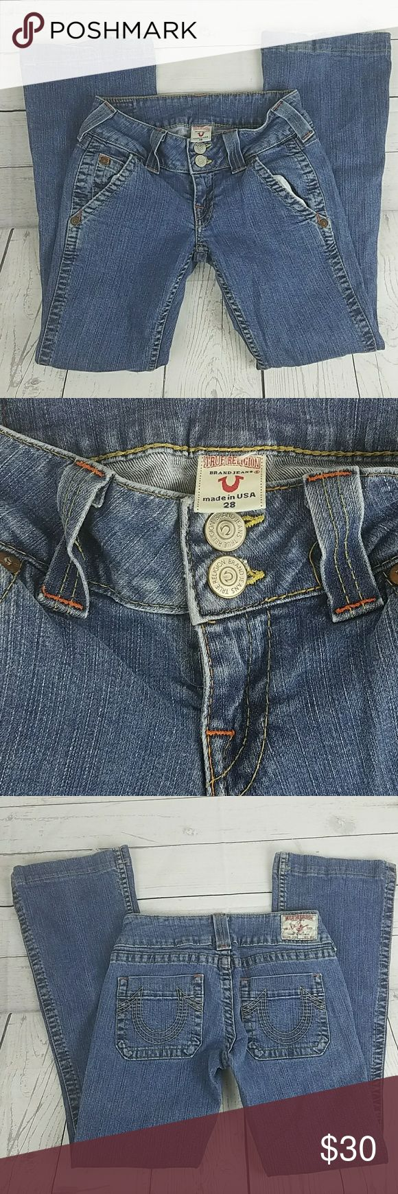 Women's True Religion Jeans Boot Cut Size 28 These Women's True Religion Jeans are in good condition. Gently used. These are the Sammy model of True Religion. Boot Cut. Size 28 Inseam  29 Rise 7 inches True Religion Jeans Boot Cut