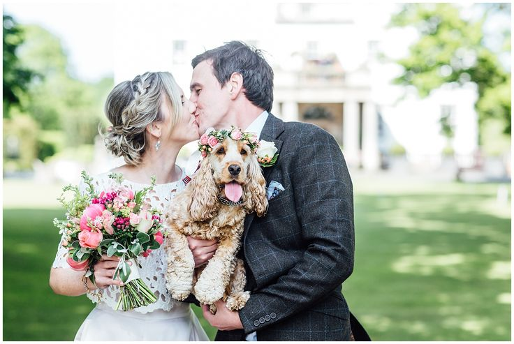 Summer Wedding, Edinburgh Prestonfield House. Flower Crown on Dog!