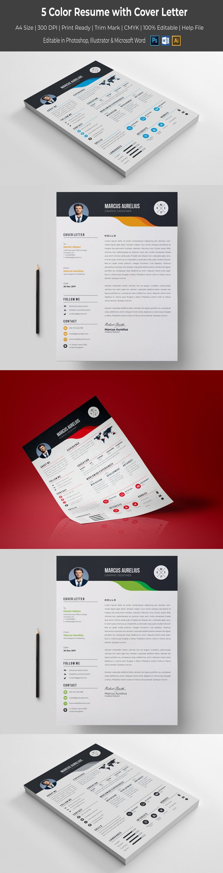 Get easily a desirable job with our 5 Color Resume Template. Choose your favorite color and good luck! #cvdesign #resumedesign #https://www.templatemonster.com/resumes/5-color-resume-template-67450.html/