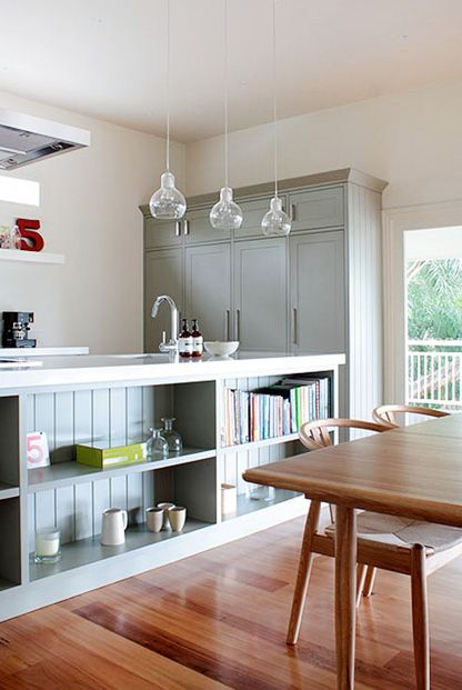 A house in Brisbane - love the book shelf in the island bench!