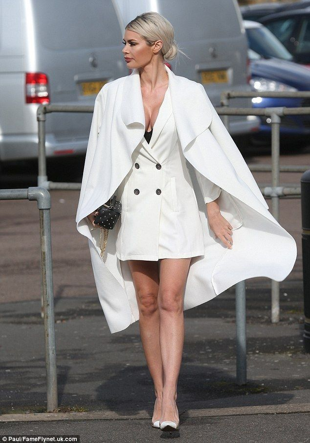 Busty Chloe Sims flashes cleavage in white plunging blazer dress - Celebrity Fashion Trends
