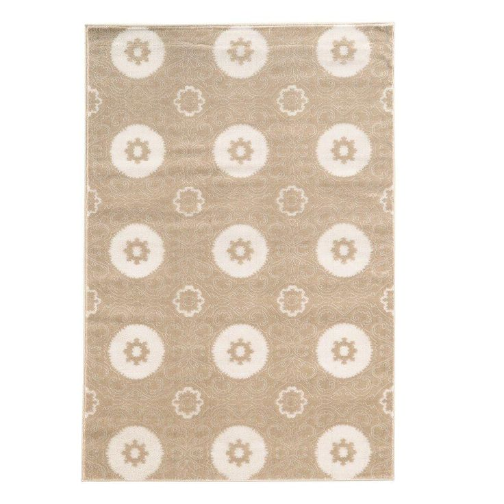 Prisma Karma Light Beige and White 8 ft. x 10 ft. 4 in. Indoor Area Rug, Primary: Light Beige/Secondary: White