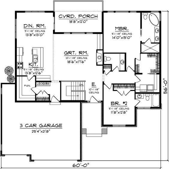 Image Result For Floor Plan Bungalow, Covered Deck, 3 Car
