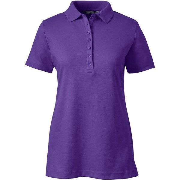 Lands' End Women's Tall Pima Polo Shirt (£15) ❤ liked on Polyvore featuring tops, purple, lands' end, purple top, tall polo shirts, purple polo shirts and tall tops