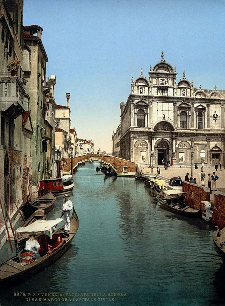 How Venice Looked to Victorian Travelers c1890 -- Before St. Mark's and public hospital, Venice, Italy