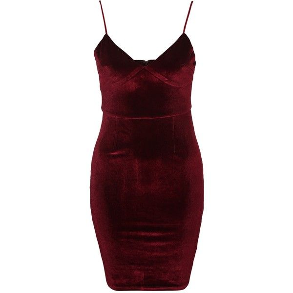 Glamorous Velvet Bodycon V-Neck Dress ($49) ❤ liked on Polyvore featuring dresses, v neck dress, tall dresses, red body con dress, glamorous cocktail dresses and body con dresses