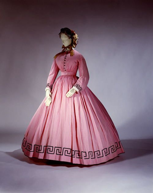 solid pink 1860s dress