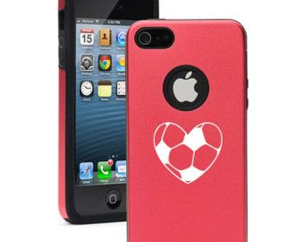 For Apple iPhone 4 4s 5 5s 5c Dual Layer Aluminum Silicone Hard Case Cover Black Blue Red Green Silver Pink Purple Heart Soccer Ball