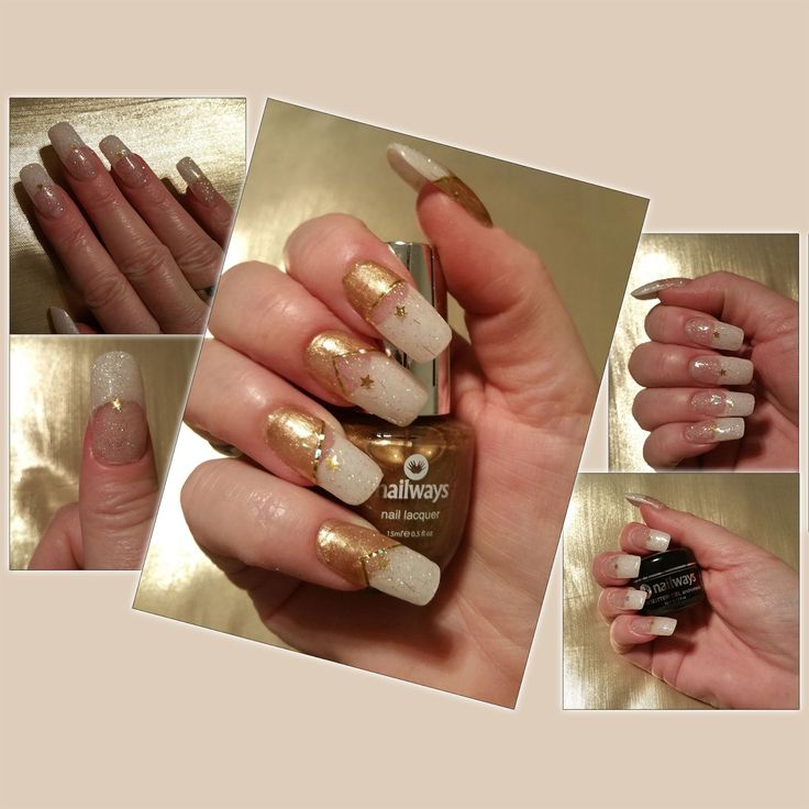 Nailways: HOW TO MAKE: A GOLDEN TWINKLING STAR UV GEL FRENCH MANICURE