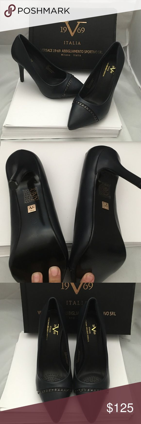 Authentic Versace navy pumps Brand new in box authentic navy pumps Italia  by Versace. Comes