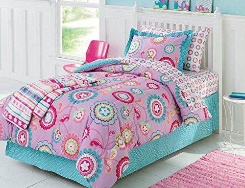 purple pink aqua girls flower full comforter set 7 piece bed in a bag kids bedding kids. Black Bedroom Furniture Sets. Home Design Ideas