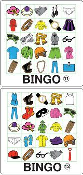 ESL GAMES-CLOTHING BINGO - Bingo isn't just for numbers!  This pdf file includes 12 Clothing Bingo game boards and 36 images for use as draw cards.  TeachersPayTeachers.com