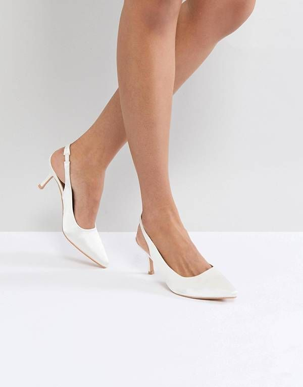 True Decadence White Satin Kitten Heeled Sling Back Shoes Kitten Heels Kitten Heel Shoes Wedding Shoes Comfortable
