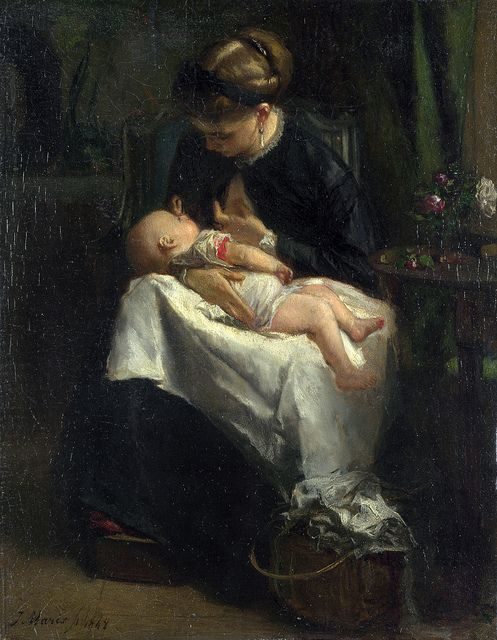 Jacob Maris - 1868    The woman in this painting is said to be Maris's wife Catharina Hendrika Horn, whom he married in 1867 with their first child