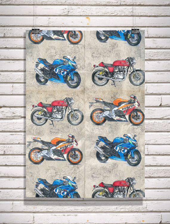 Motorcycle Gift Wrap Sports Bikes - original illustrations by Daily Biker Dan